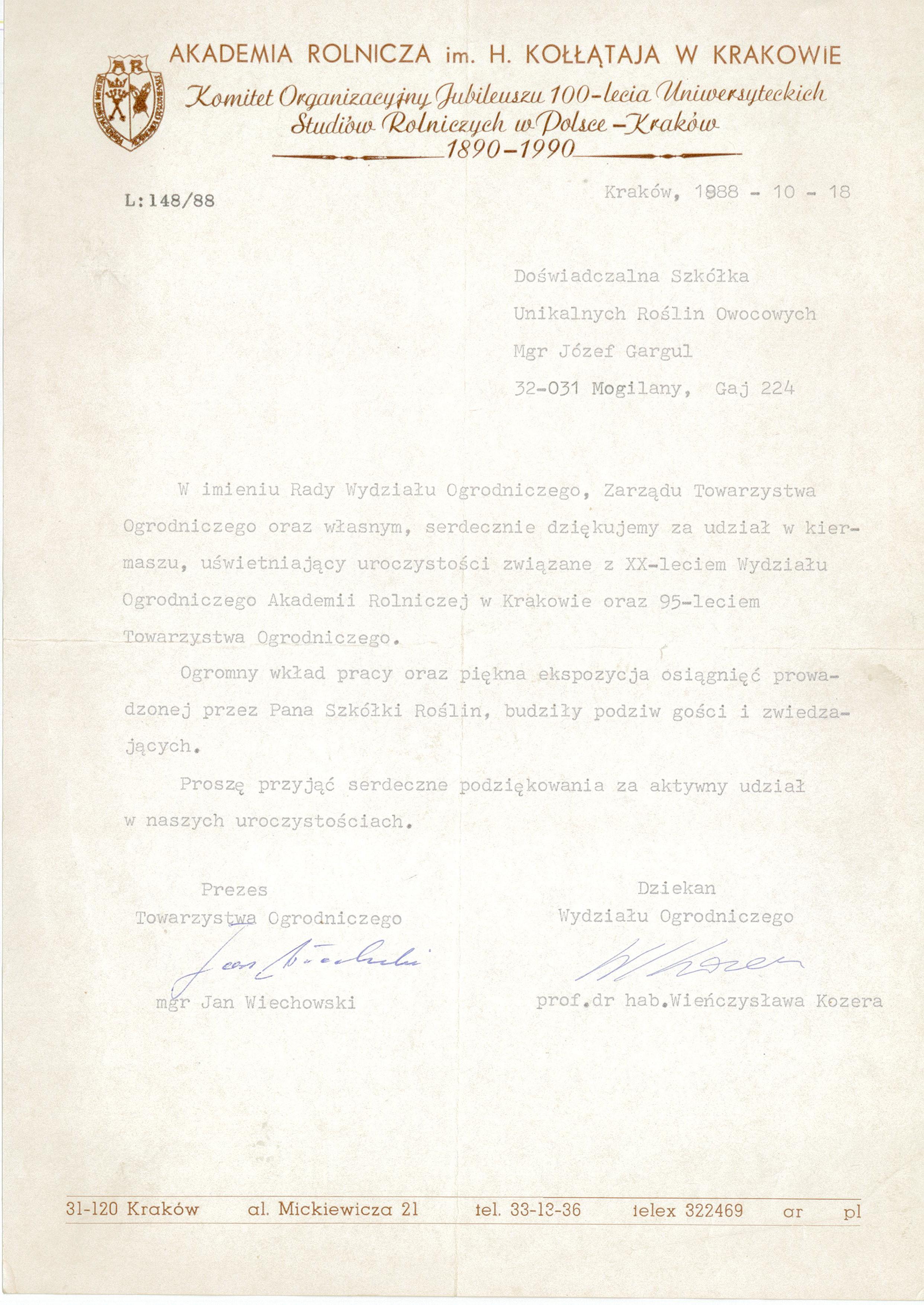 1983 Gargul Gartex Gaj Szkółka Roślin Ozdobnych i Owocowych